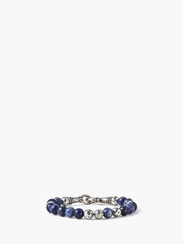 John Varvatos Artisanal Silver & Sodalite Beaded Bracelet Cobalt
