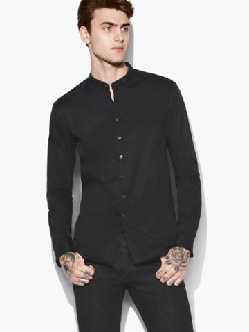 John Varvatos Solid Band Collar Shirt Black Size: Xs