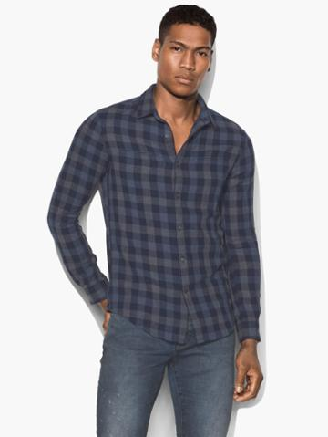 John Varvatos Long Sleeve Button Front Shirt Navy Size: S