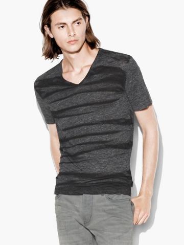 John Varvatos Printed V-neck Tee  Size: M