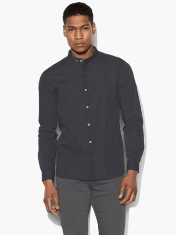 John Varvatos Floral Band Collar Shirt Black Size: S