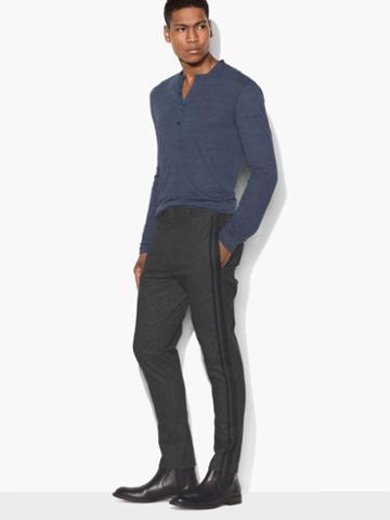 John Varvatos Tapered Side Stripe Pant Blk Cord Size: 30
