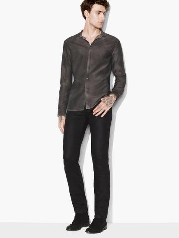 John Varvatos Cotton-silk Band Collar Shirt