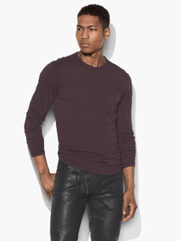 John Varvatos Long Sleeve Pocket Tee Bordeaux Size: S