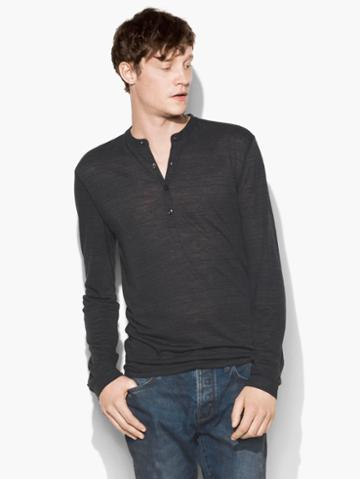 John Varvatos Straited Long Sleeve Henley Blk Cord Size: Xs