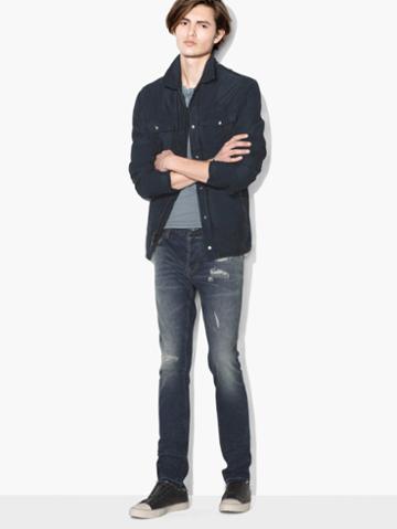 John Varvatos Patch Work Shirt Jacket Light Blue Size: Xs