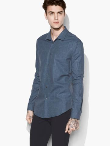 John Varvatos Windowpane Shirt Blue Heather Size: S