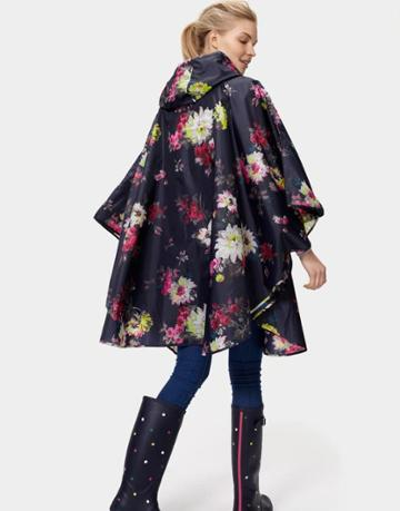 Joules Clothing Us Joules Showerproof Poncho - French Navy Floral