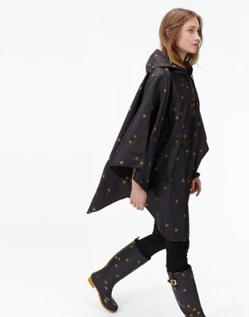 Joules Clothing Us Joules Poncho Printed Showerproof Poncho - Black Bees