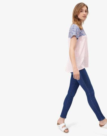 Joules Clothing Us Joules Suzy Jersey Woven Mix T Shirt - Blue Ditsy