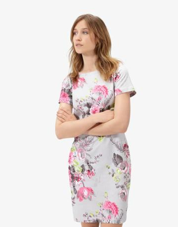 Joules Clothing Us Joules Rivieraprint Jersey T Shirt Dress - Silver Posy
