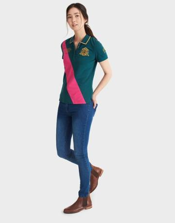 Joules Clothing Us Joules Burghley Horse Trials Ladies Polo - Dark Green