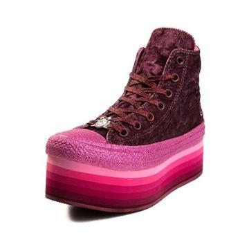Womens Converse X Miley Cyrus Chuck Taylor All Star Hi Velvet Platform Sneaker