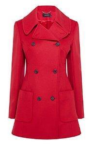 Karen Millen Classic Reefer Coat Red Size 10