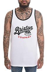Brixton: The Denton Tank In White, Tank Tops For Men