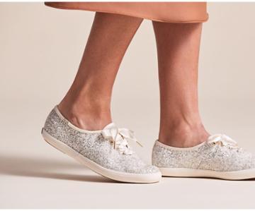Keds X Kate Spade New York Champion Glitter Cream Glitter, Size 6.5m Women Inchess Shoes