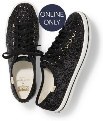Keds X Kate Spade New York Kickstart Glitter Black, Size 5m Women Inchess Shoes