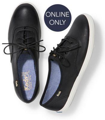 Keds Champion Leather Black, Size 6m Women Inchess Shoes