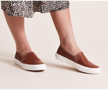 Keds Double Decker Leather Cognac, Size 6.5m Women Inchess Shoes