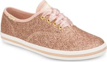 Keds X Kate Spade New York Champion Glitter Sneaker Rose Gold, Size M Keds Shoes
