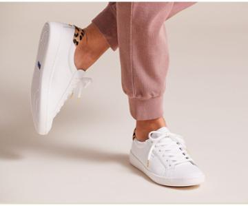 Keds X Kate Spade New York Ace Leather Calf Hair White Leopard, Size 6m Women Inchess Shoes