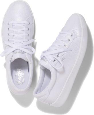Keds Ace Metallic White Silver, Size 5m Women Inchess Shoes