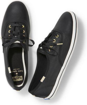 Keds X Kate Spade New York Champion Leather Black, Size 5m Women Inchess Shoes
