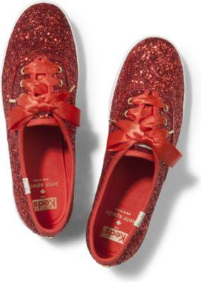 Keds X Kate Spade New York Champion Glitter Red, Size 5m Women Inchess Shoes