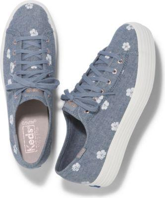 Keds Triple Kick Hibiscus Blue Chambray, Size 5m Women Inchess Shoes
