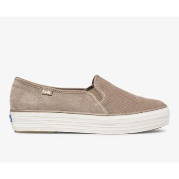 Keds Triple Decker Suede Taupe, Size 7.5m Women Inchess Shoes
