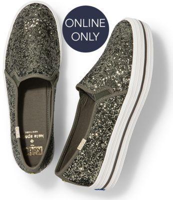 Keds X Kate Spade New York Triple Decker Glitter Olive Green, Size 5m Women Inchess Shoes