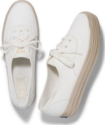 Keds Triple Shimmer White Gold, Size 5.5m Women Inchess Shoes