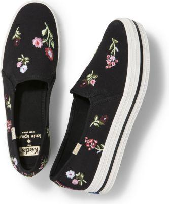 Keds X Kate Spade New York Triple Decker Embroidery Black Floral, Size 5m Women Inchess Shoes