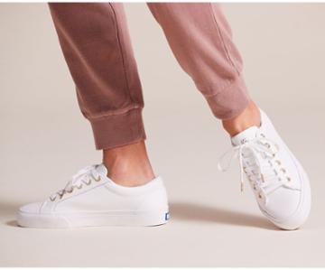 Keds Jump Kick Leather White Gold, Size 10m Women Inchess Shoes