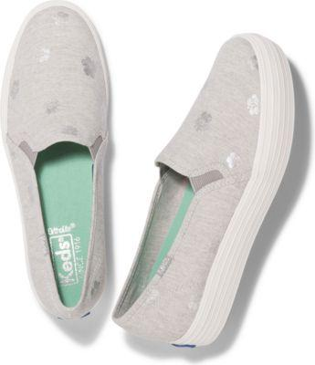 Keds Triple Decker Hibiscus Lt Gray, Size 5m Women Inchess Shoes