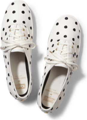 Keds X Kate Spade New York Champion Black Dancing Dot, Size 5m Women Inchess Shoes