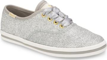 Keds X Kate Spade New York Champion Glitter Sneaker Silver, Size M Keds Shoes