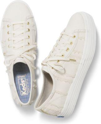 Keds Triple Kick Eyelash Canvas Cream, Size 5.5m Women Inchess Shoes