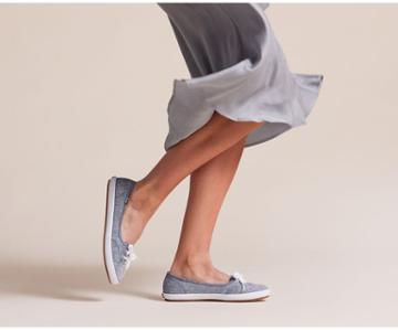 Keds Teacup Chambray Lt Blue, Size 8.5m Women Inchess Shoes