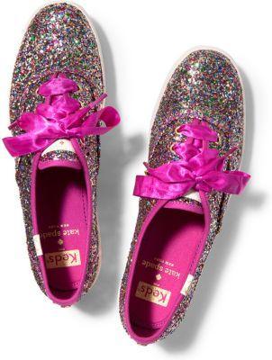 Keds X Kate Spade New York Champion Glitter. Multi Pink Glitter, Size 5m Women Inchess Shoes