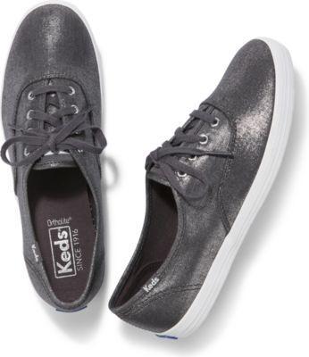 Keds Champion Metallic Linen Gunmetal, Size 5m Women Inchess Shoes