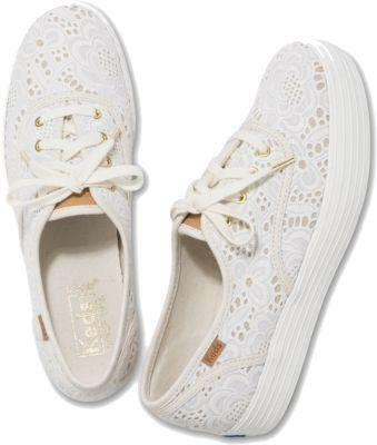 Keds Triple Emroidered Crochet Cream, Size 5m Women Inchess Shoes