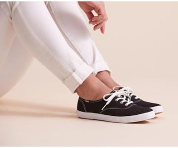 Keds Washable Champion Feat. Organic Cotton Black, Size 8.5m Women Inchess Shoes