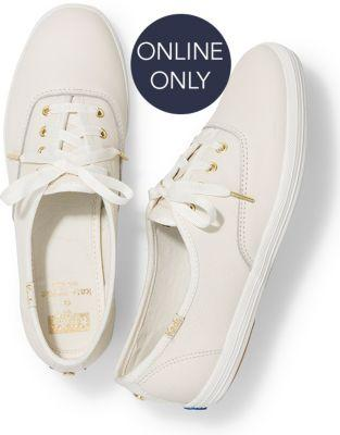 Keds X Kate Spade New York Champion Leather Cream, Size 5m Women Inchess Shoes