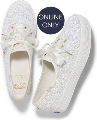 Keds X Kate Spade New York Triple Glitter Cream, Size 6m Women Inchess Shoes