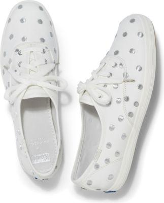 Keds X Kate Spade New York Champion Cream Silver Dancing Dot, Size 5m Women Inchess Shoes