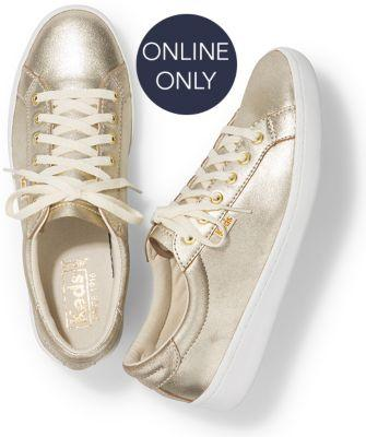 Keds Ace Glitter Suede Gold, Size 5m Women Inchess Shoes