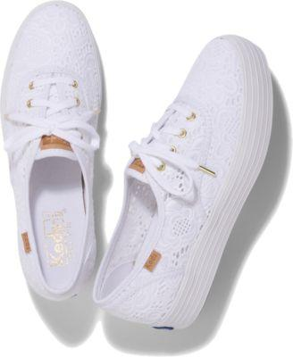 Keds Triple Emroidered Crochet White, Size 5m Women Inchess Shoes