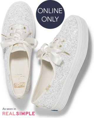 Keds X Kate Spade New York Triple Glitter Cream, Size 6.5m Women Inchess Shoes