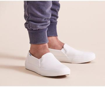 Keds Double Decker Leather White, Size 7m Women Inchess Shoes